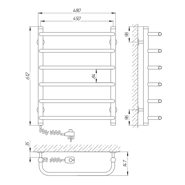 Схема Электрический полотенцесушитель Laris Стандарт П6 450х600 Э (подключение слева)