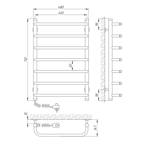 Схема Электрический полотенцесушитель Laris Стандарт П7 450х700 Э (подключение слева)