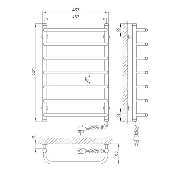 Схема Электрический полотенцесушитель Laris Стандарт П7 450х700 Э (подключение справа)