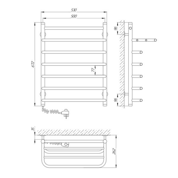 Схема Электрический полотенцесушитель Laris Стандарт П7 500х660 Э с полкой (подключение слева)