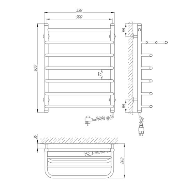 Схема Электрический полотенцесушитель Laris Стандарт П7 500х660 Э с полкой (подключение справа)