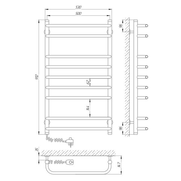 Схема Электрический полотенцесушитель Laris Стандарт П9 500х900 Э (подключение слева)