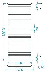 Схема Водяной полотенцесушитель Mario Верди 1200x574/500