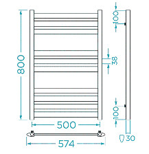 Схема Водяной полотенцесушитель Mario Верди 800x574/500