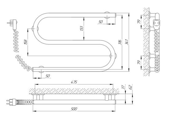 Схема Электрический полотенцесушитель Laris Зебра Змеевик 25 ЧК2 500х330 (подключение слева)