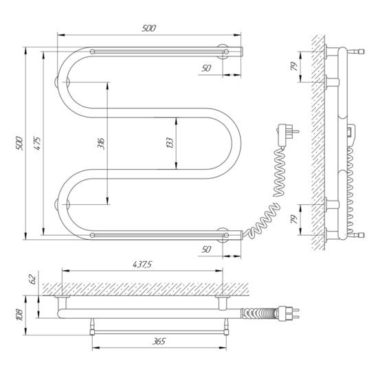 Схема Электрический полотенцесушитель Laris Зебра Змеевик 25 ЧК3 500х500 с полками (подключение справа)