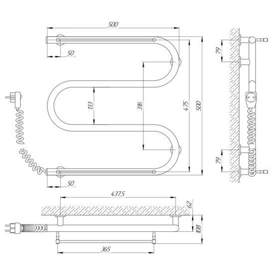 Схема Электрический полотенцесушитель Laris Зебра Змеевик 25 ЧК3 500х500 с полками (подключение слева)