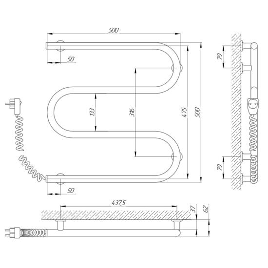 Схема Электрический полотенцесушитель Laris Зебра Змеевик 25 ЧК3 500х500 (подключение слева)