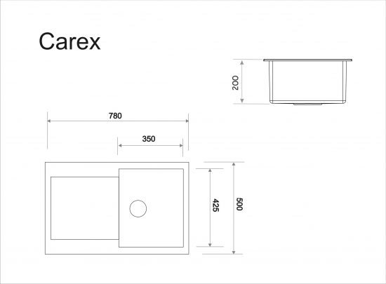 Схема Гранитная мойка Idis Carex №2 780x500