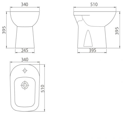 Схема Биде напольное Duru 015300