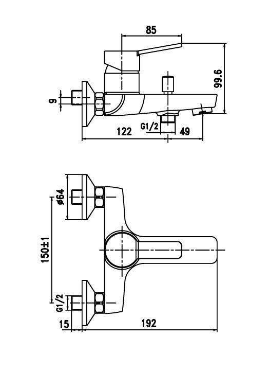 Схема Cмеситель для ванны Boston 91361