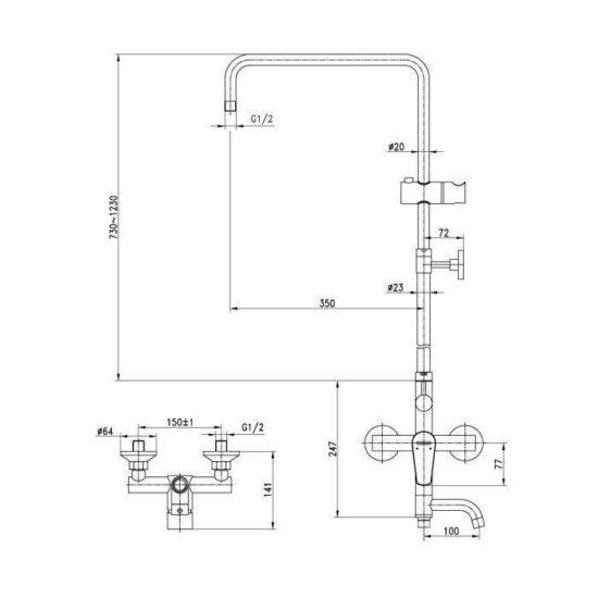 Схема Душевая система OPTIMA 4357