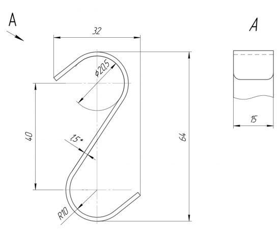 Схема Крючок навесной 28x60 мм Mario