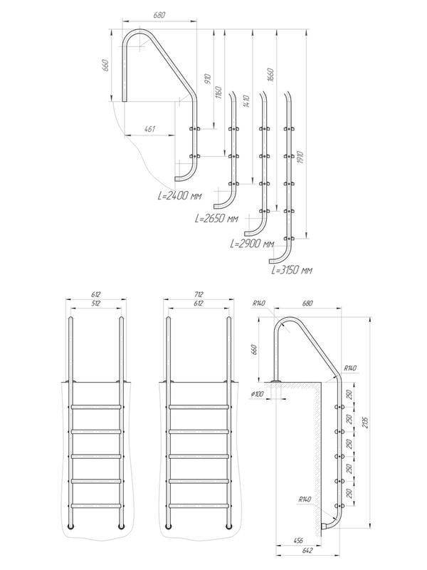 Схема Лестница в бассейн Laris Trianon
