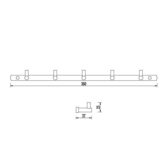 Схема Планка с крючками Терра на 5 крючков 80565ФС