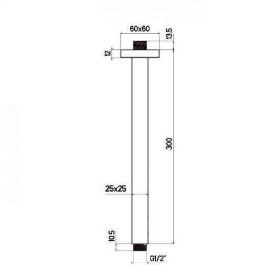 Схема Потолочный кронштейн для верхнего душа Quadro Nikles A 47005 30N