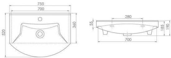 Схема Раковина CERASTYLE Evita 75 см