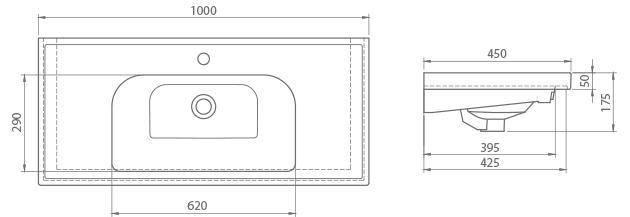 Схема Раковина CERASTYLE Frame 100 см