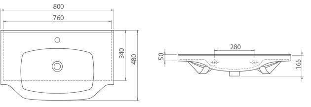 Схема Раковина CERASTYLE New Klasik 80 см