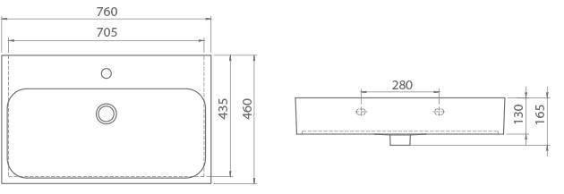 Схема Раковина CERASTYLE Pinto 76 см