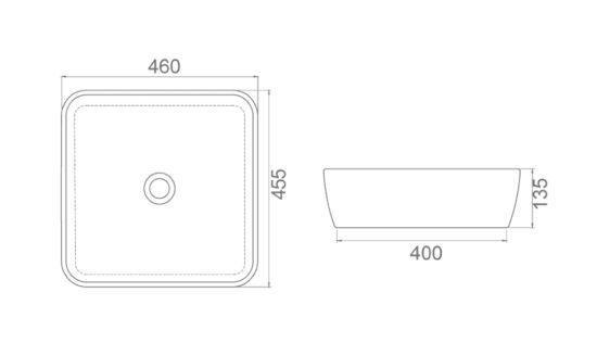 Схема Раковина ONE 46*46 см квадратная 076000