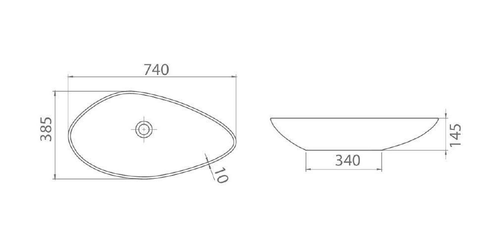 Схема Раковина Olive встроенная 73 см 002300