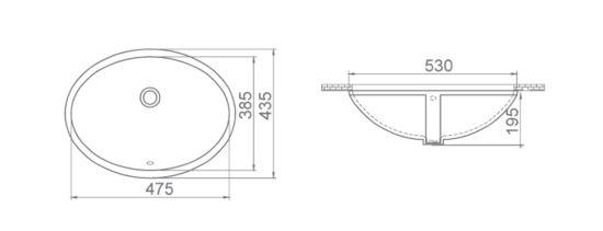 Схема Раковина встроенная 48 см 070200