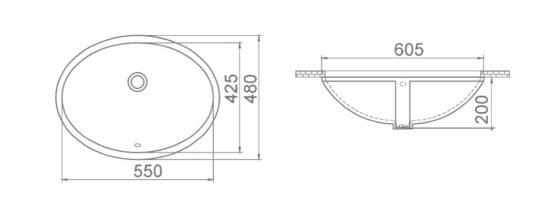 Схема Раковина встроенная 55 см 070100