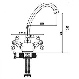 Схема Смеситель для кухни Ideal 91705