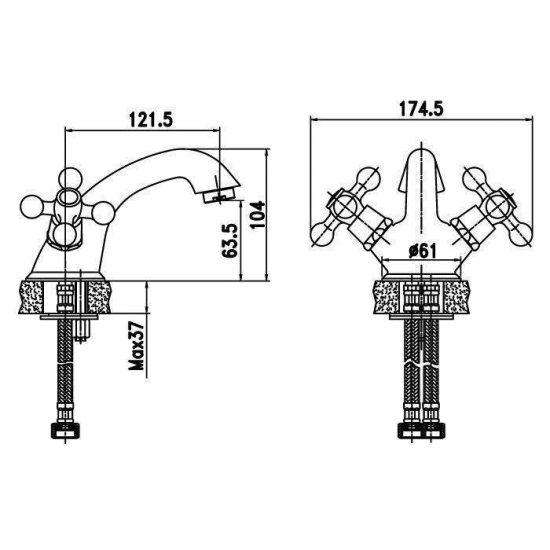 Схема Смеситель для раковины Ideal 91703