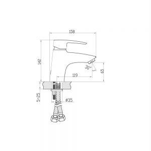 Схема Смеситель для раковины Lal 9FA123W99N10 хром