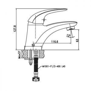 Схема Смеситель для раковины Umbra 90363