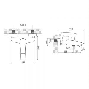 Схема Смеситель для ванны Lal 9FA123B99N10 хром