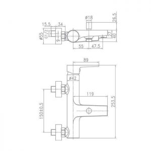 Схема Смеситель для ванны Matteo 90891
