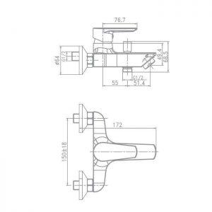 Схема Смеситель для ванны Optima 90971