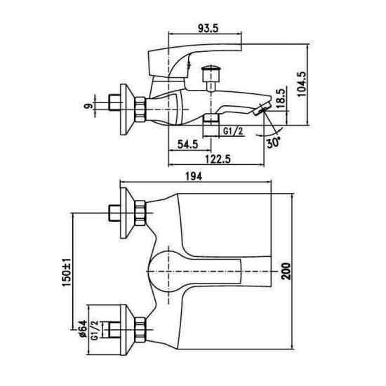 Схема Смеситель для ванны Rodos 90801
