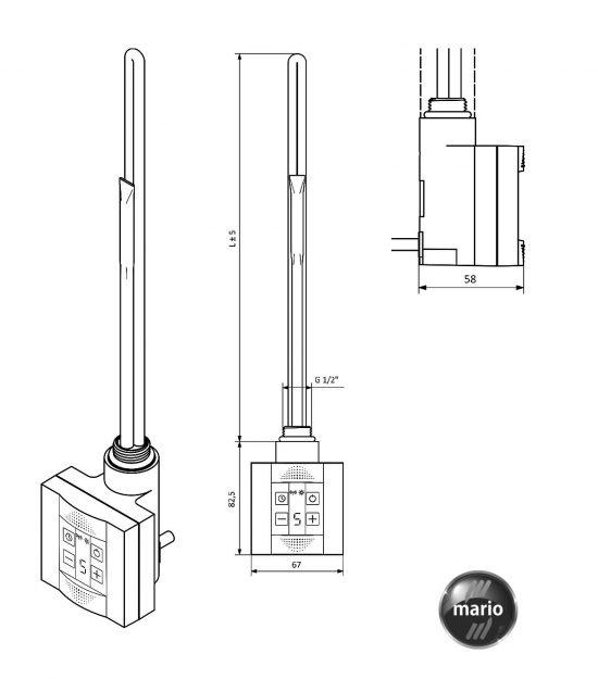 Схема ТЭН KTX 300W для полотенцесушителя Mario