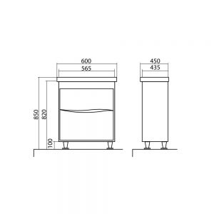 Схема Тумба Альфа напольная 60 см белая c умывальником Frame
