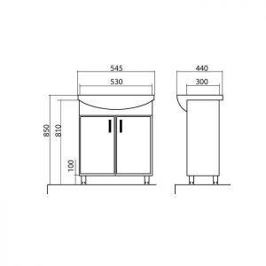 Схема Тумба Ассоль 55 см с умывальником