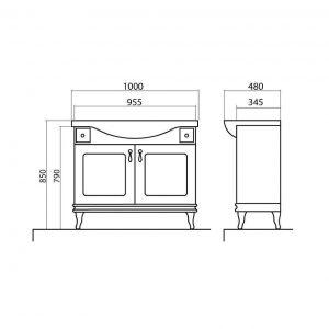 Схема Тумба Беатриче 100 см с Умывальником Нью Классик
