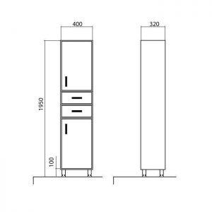 Схема Пенал Ассоль напольный 40 см без корзины для белья