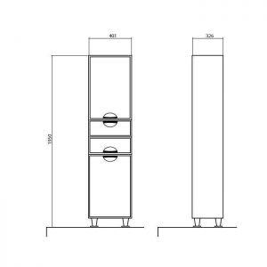 Схема Пенал Глория напольный 40 см без корзины для белья (правый, левый)