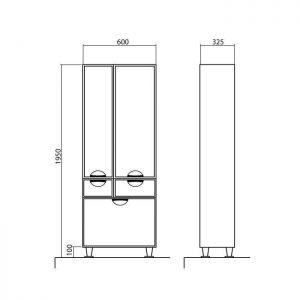 Схема Пенал Глория напольный 60 см с корзиной для белья