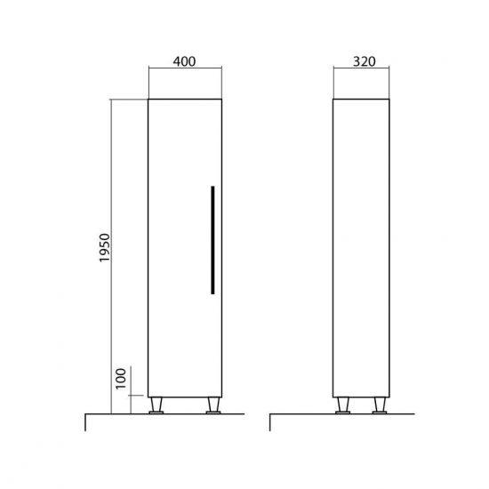Схема Пенал Паола напольный 40 см (правый, левый)