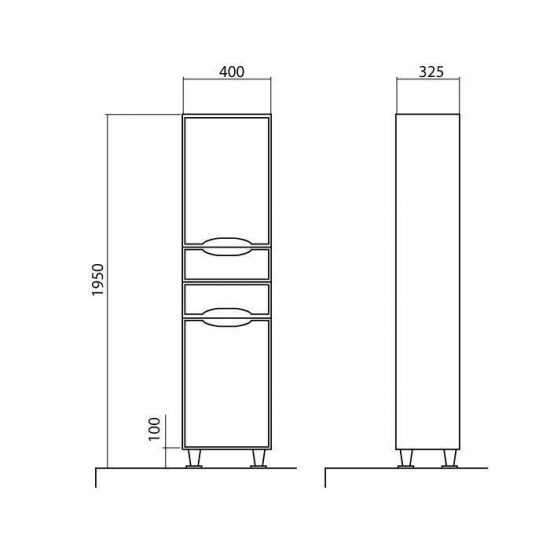 Схема Пенал Родорс напольный 40 см с корзиной для белья (правый)