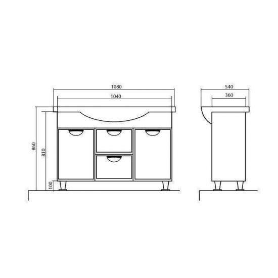 Схема Тумба Глория напольная 108 см с корзиной для белья с умывальником