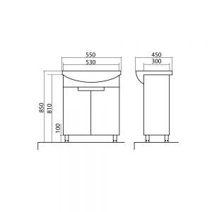 Схема Тумба Квадро 55 см с умывальником