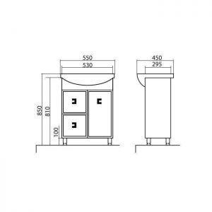 Схема Тумба Мобис напольная 55 см с умывальником