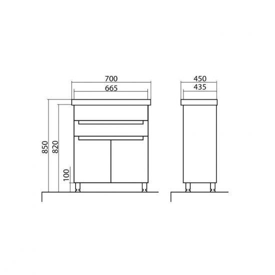 Схема Тумба Омега напольная 70 см с умывальником Frame