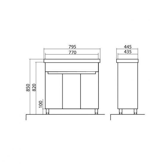 Схема Тумба Омега напольная 80 см с умывальником Frame